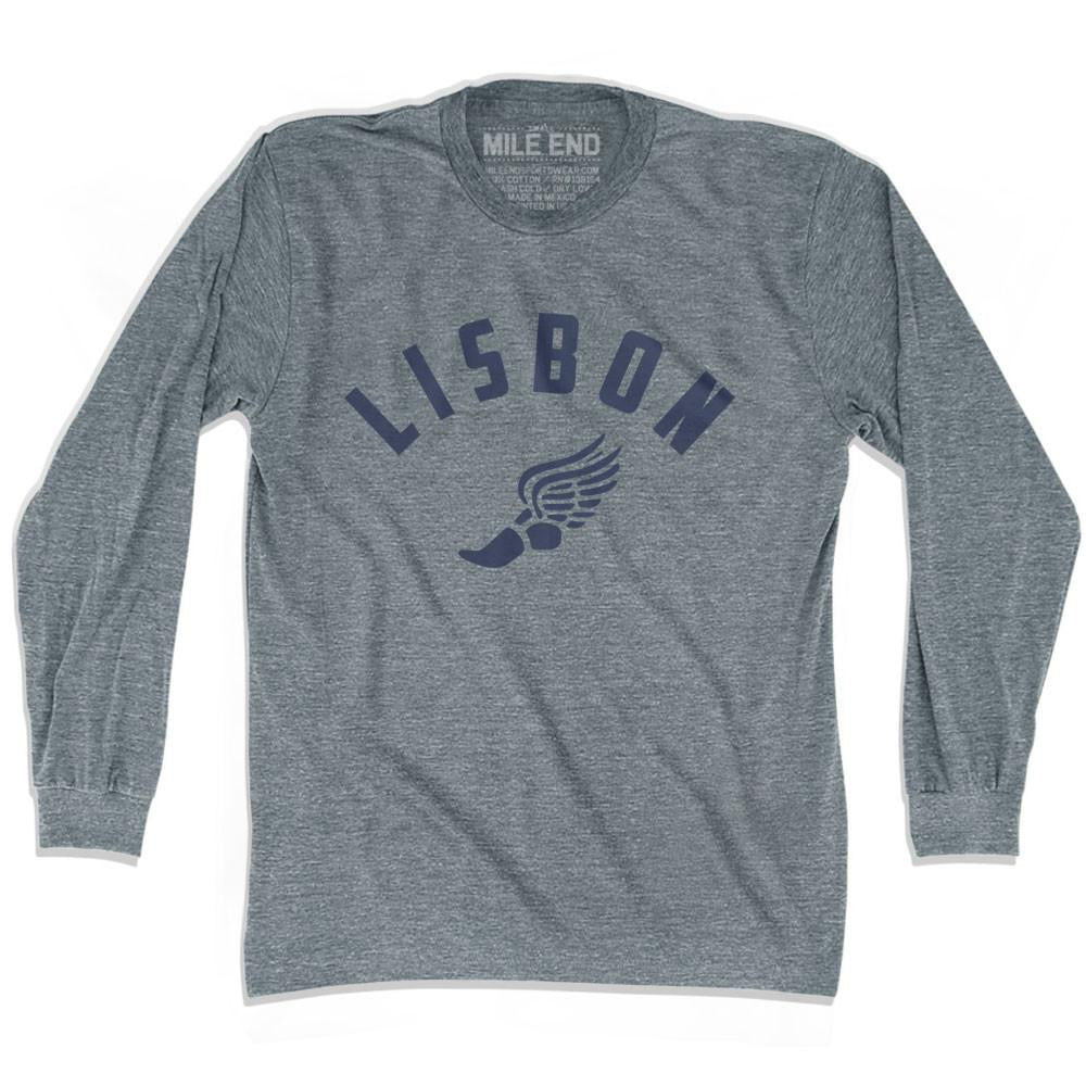 Lisbon Track long sleeve T-shirt in Athletic Grey by Mile End Sportswear