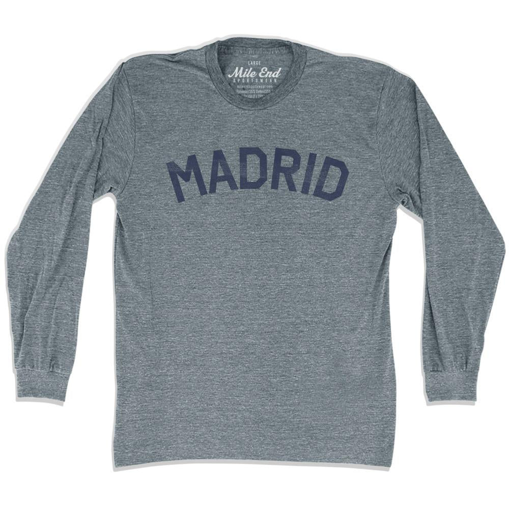 Madrid City Vintage Long-Sleeve T-shirt in Athletic Grey by Mile End Sportswear