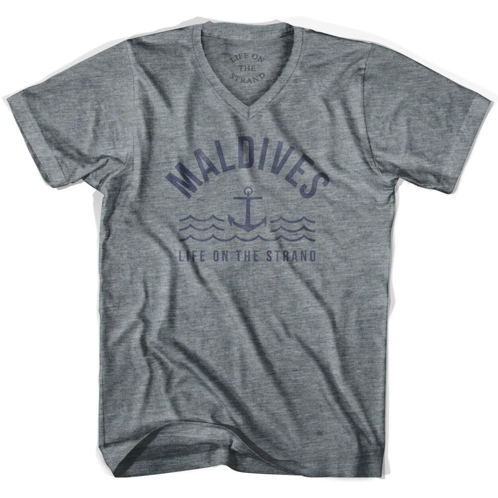 Maldives Anchor Life on the Strand V-neck T-shirt in Athletic Grey by Life On the Strand
