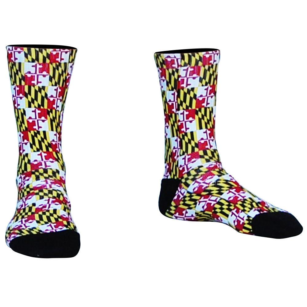 Maryland Flag Athletic Crew Socks in Red by Mile End Sportswear