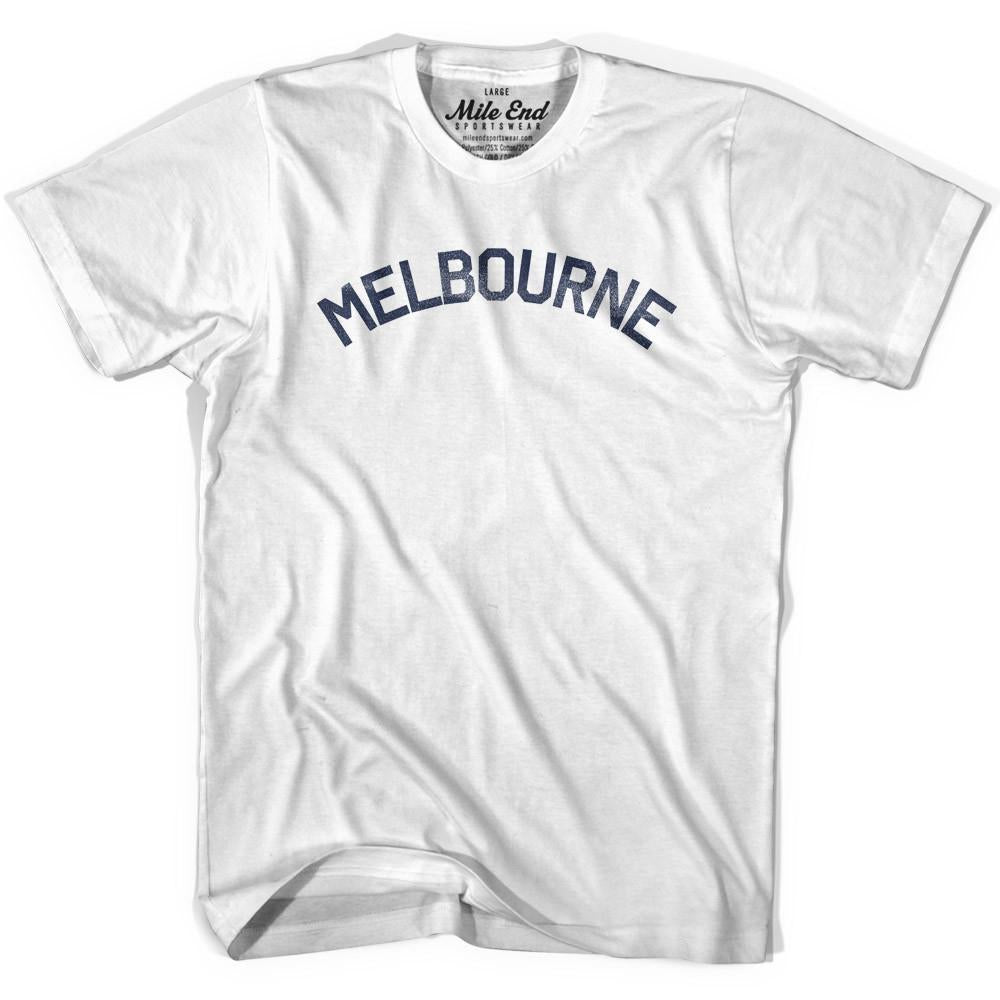 Melbourne City Vintage T-shirt in White by Mile End Sportswear