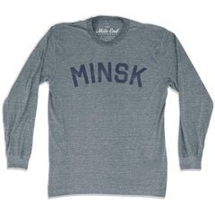 Minsk City Vintage Long-Sleeve T-shirt in Athletic Grey by Mile End Sportswear