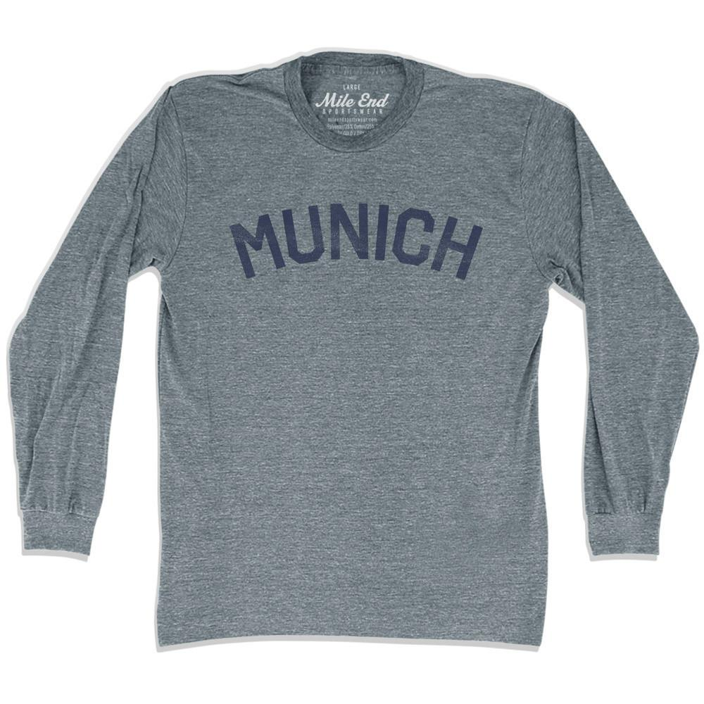 Munich City Vintage Long-Sleeve T-shirt in Athletic Grey by Mile End Sportswear