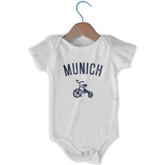 Munich City Tricycle Infant Onesie in White by Mile End Sportswear