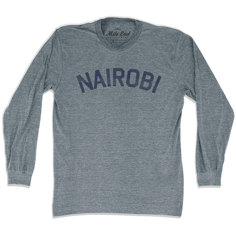 Nairobi City Vintage Long Sleeve T-shirt in Athletic Grey by Mile End Sportswear