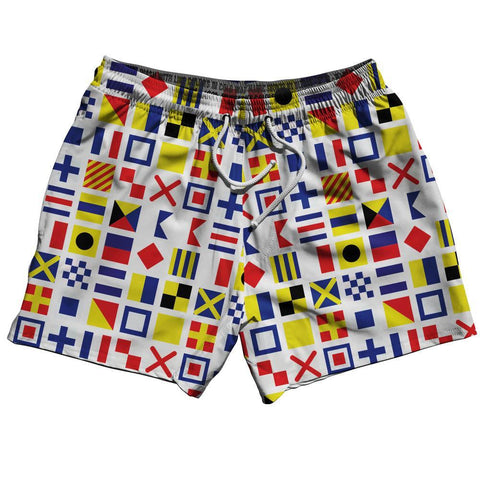 Nautical Flags Swim Shorts 5""