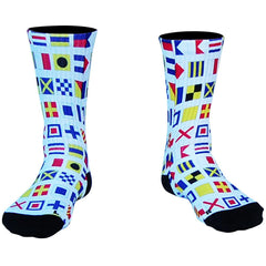 Nautical Sailing Athletic Crew Socks in White by Mile End Sportswear