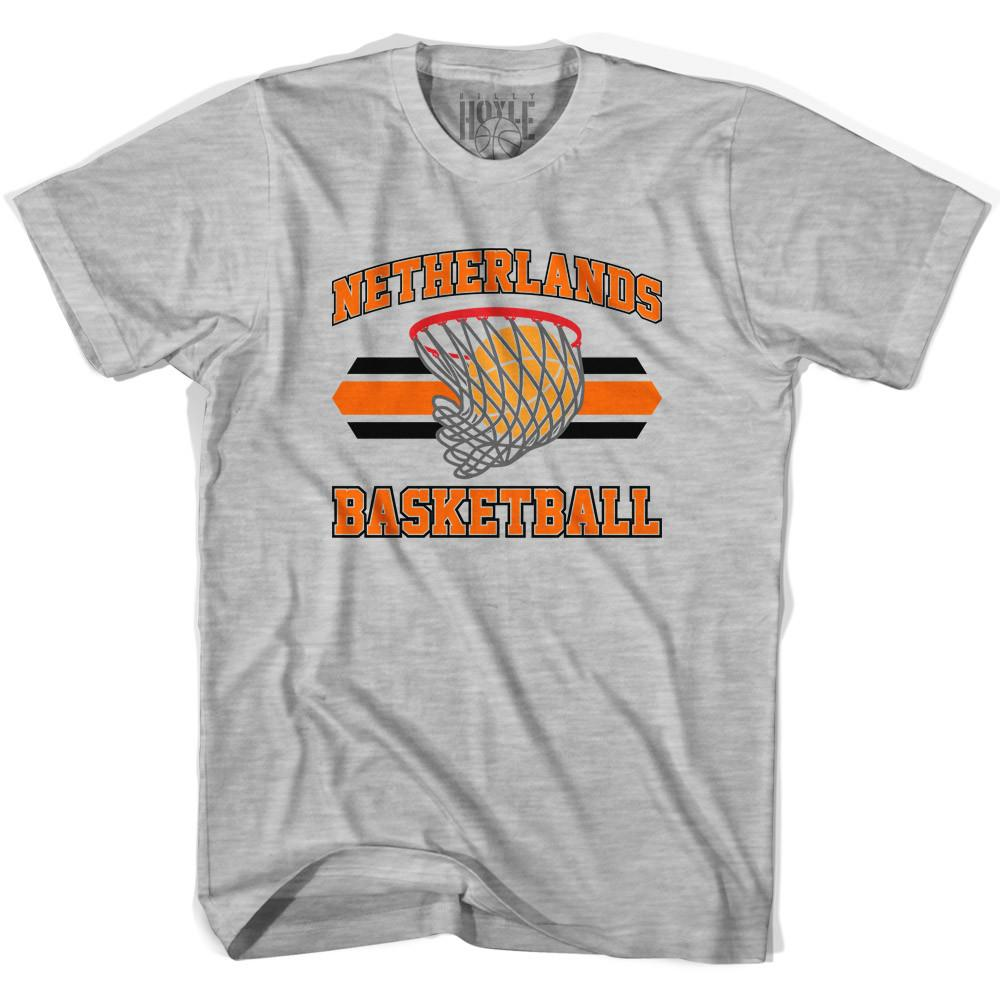 Netherlands 90's Basketball T-shirts in Grey Heather by Billy Hoyle