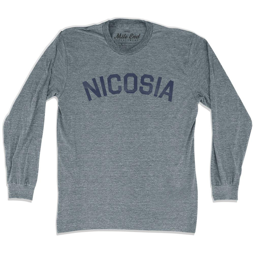 Nicosia City Vintage Long Sleeve T-shirt in Athletic Grey by Mile End Sportswear
