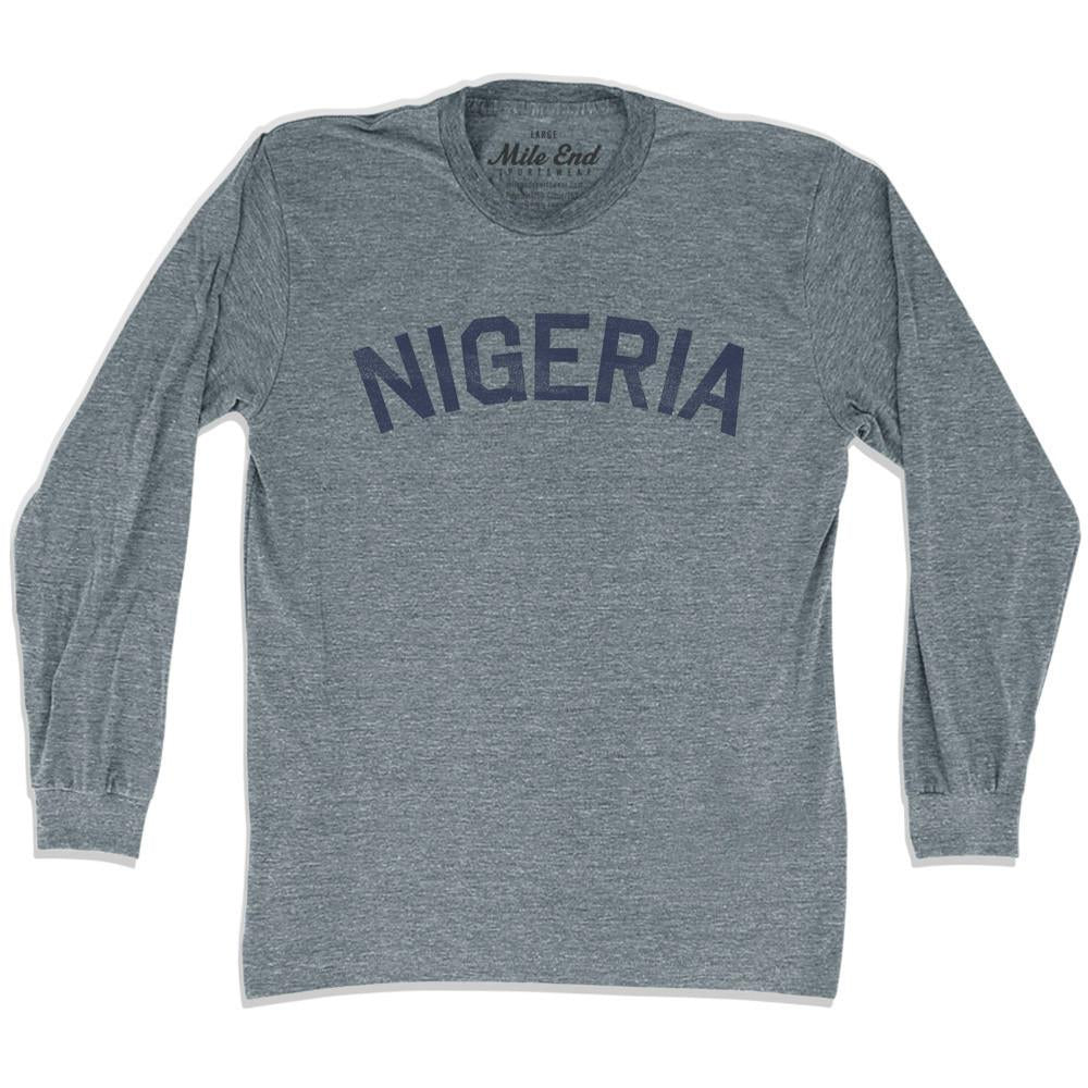Nigeria City Vintage Long Sleeve T-shirt in Athletic Grey by Mile End Sportswear