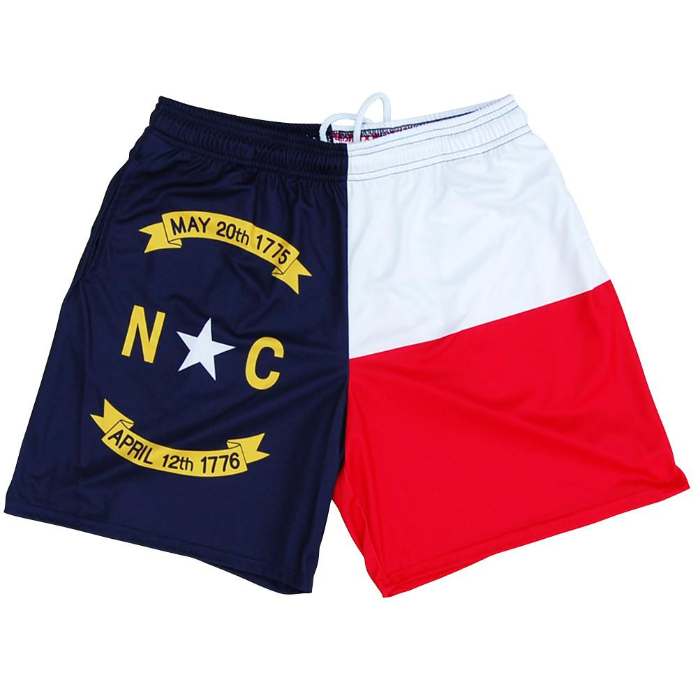 North Carolina Athletic Shorts in Red White and Blue by Mile End Sportswear