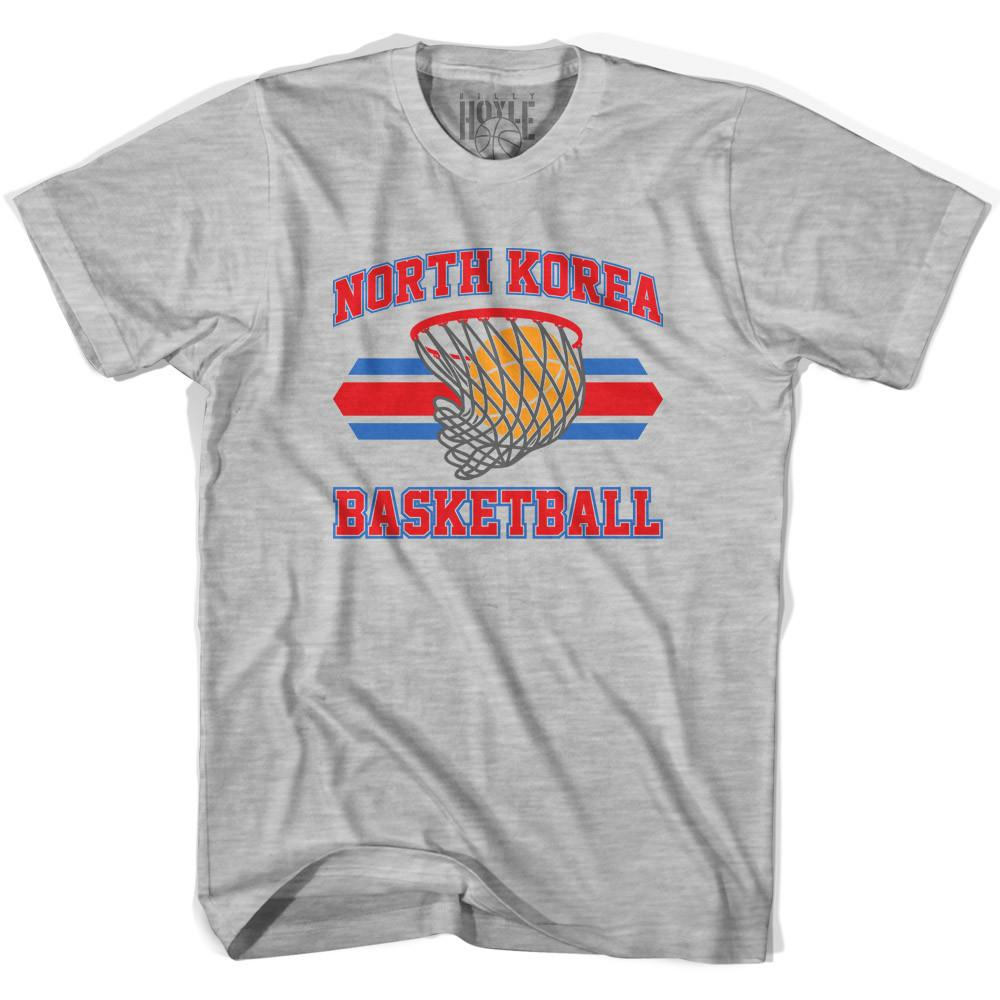 North Korea 90's Basketball T-shirts in Grey Heather by Billy Hoyle