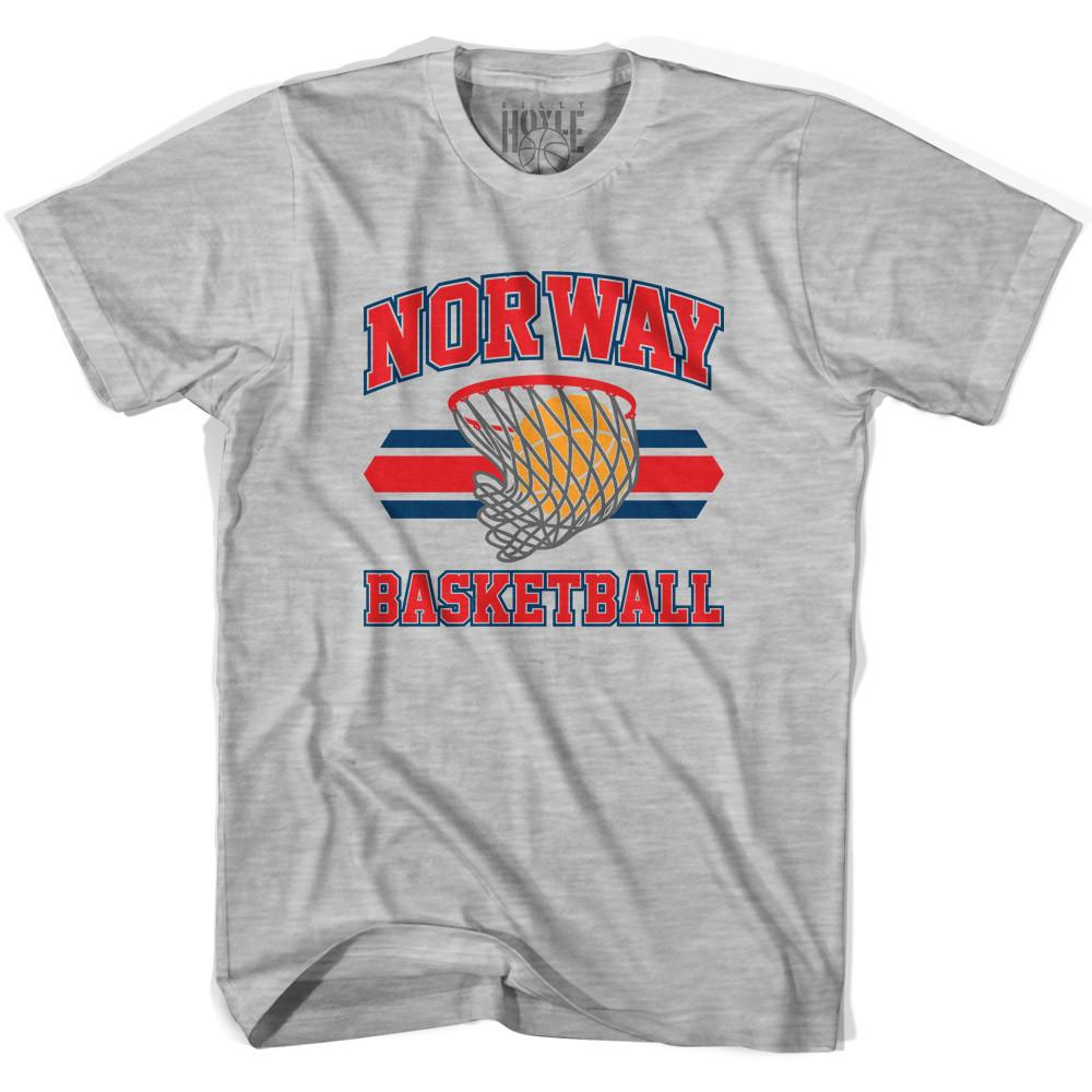 Norway 90's Basketball T-shirts in Grey Heather by Billy Hoyle