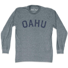 Oahu City Vintage Long-Sleeve T-shirt in Athletic Grey by Mile End Sportswear