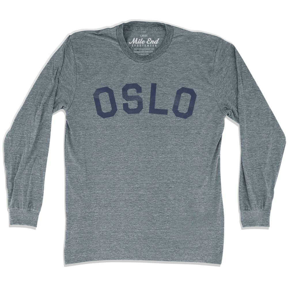 Oslo City Vintage Long Sleeve T-Shirt in Athletic Grey by Mile End Sportswear