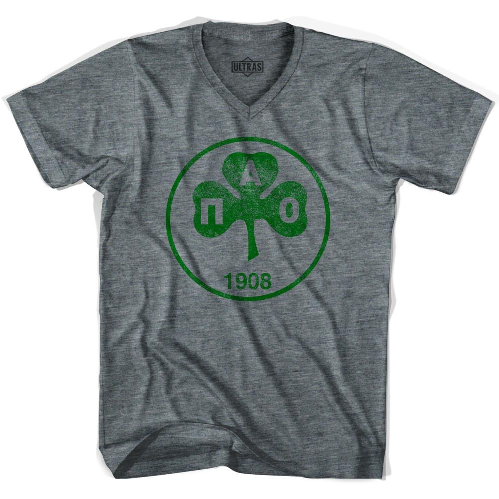 Ultras Vintage Panathinaikos Crest V-neck T-shirt in Athletic Grey by Ultras