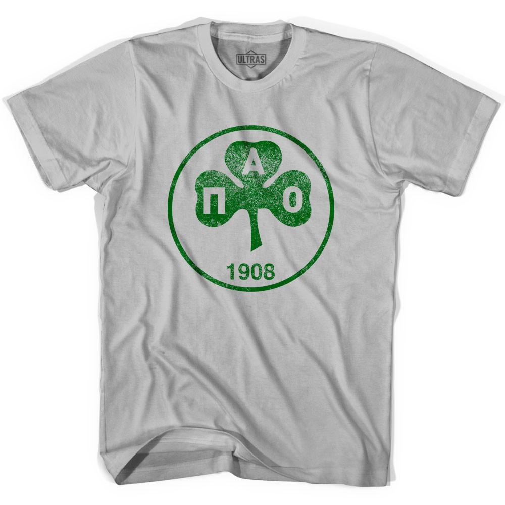 Ultras Vintage Panathinaikos Crest Ultras Soccer T-shirt in Cool Grey by Ultras