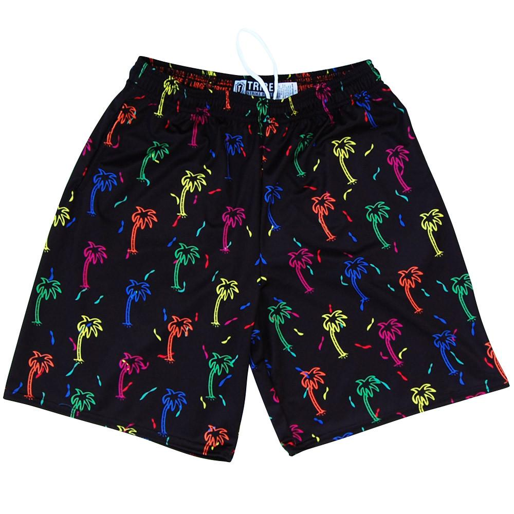Party Palms Lacrosse Shorts in Black by Tribe Head Lacrosse