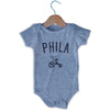 Phila City Tricycle Infant Onesie in Grey Heather by Mile End Sportswear