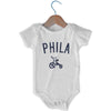Phila City Tricycle Infant Onesie in White by Mile End Sportswear