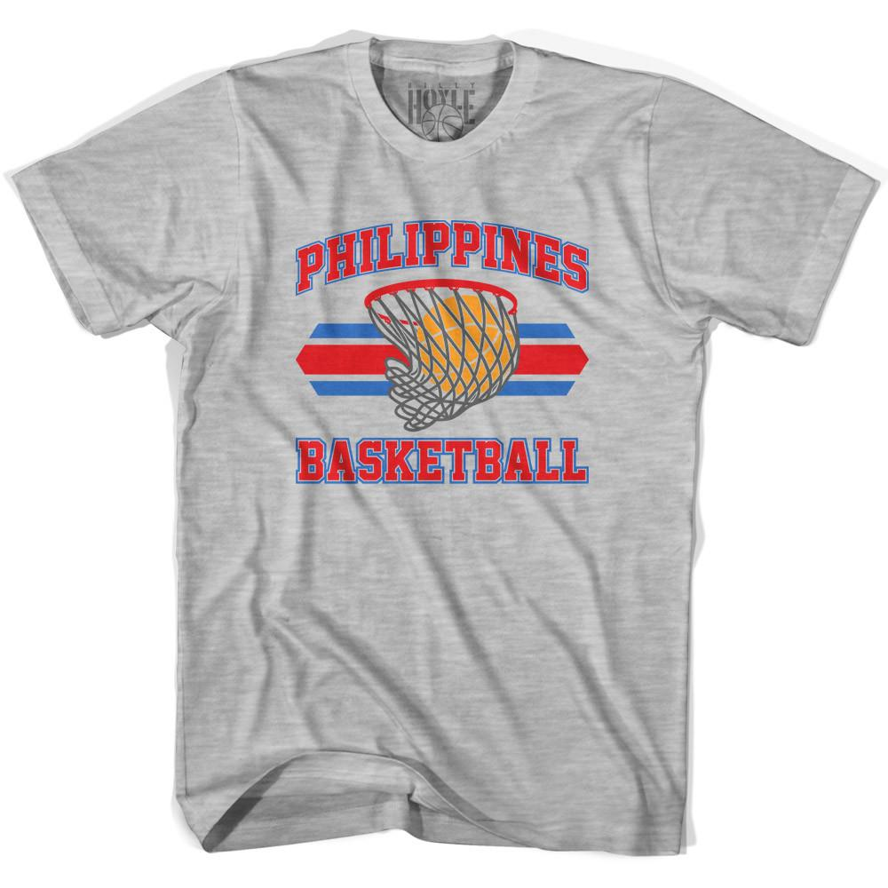 Philippines 90's Basketball T-shirts in Grey Heather by Billy Hoyle
