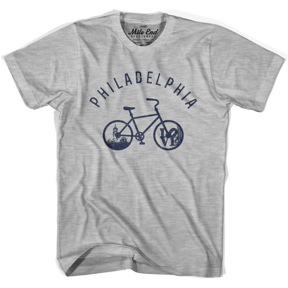 Philadelphia Bike T-shirt in Heather Grey by Mile End Sportswear