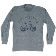 Philadelphia Bike Long Sleeve T-shirt in Athletic Grey by Mile End Sportswear