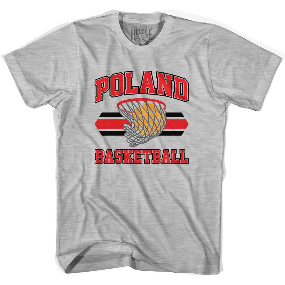 Poland 90's Basketball T-shirts in Grey Heather by Billy Hoyle