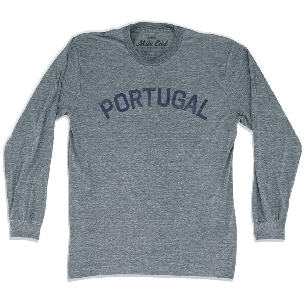 Portugal City Vintage Long Sleeve T-shirt in Athletic Grey by Mile End Sportswear