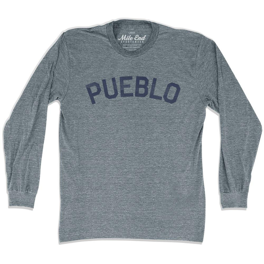Pueblo City Vintage Long-Sleeve T-shirt in Athletic Grey by Mile End Sportswear