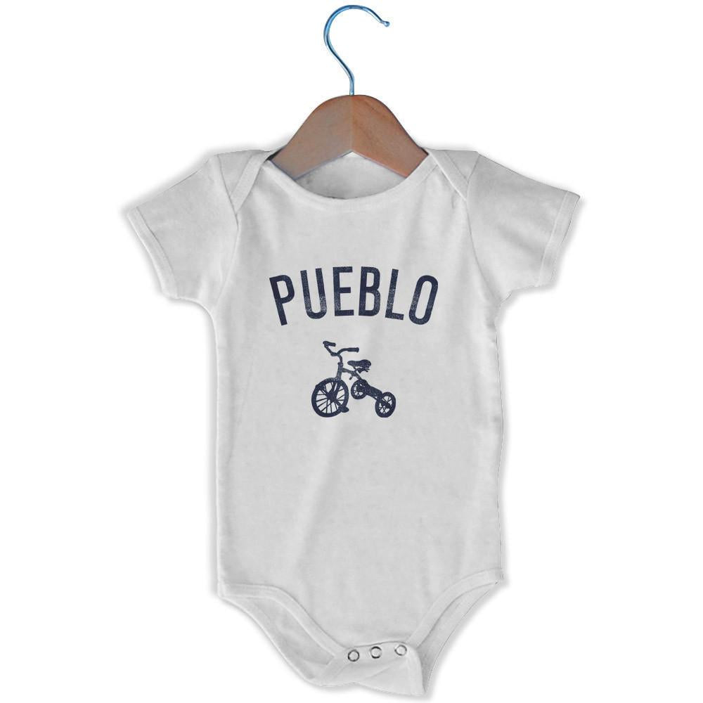 Pueblo City Tricycle Infant Onesie in White by Mile End Sportswear