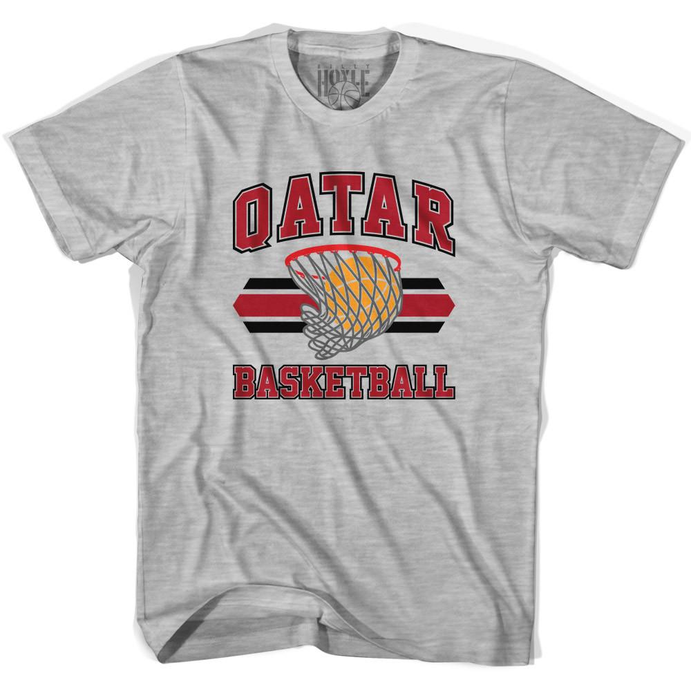 Qatar 90's Basketball T-shirts in Grey Heather by Billy Hoyle
