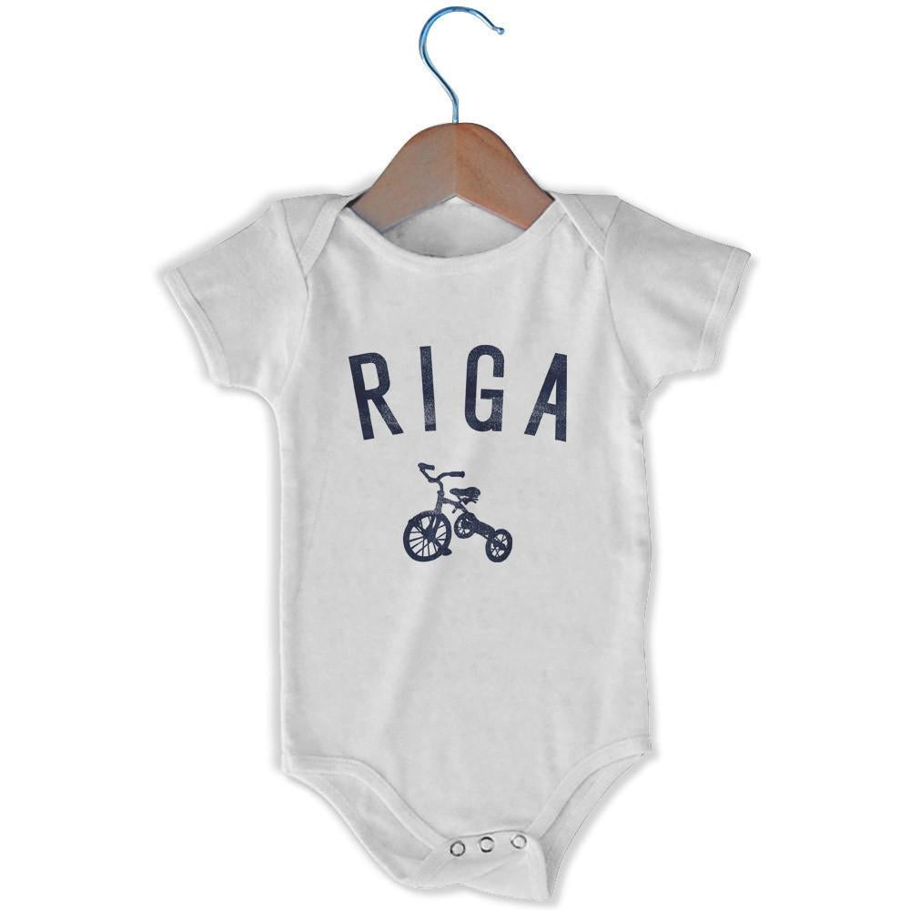 Riga City Tricycle Infant Onesie in White by Mile End Sportswear