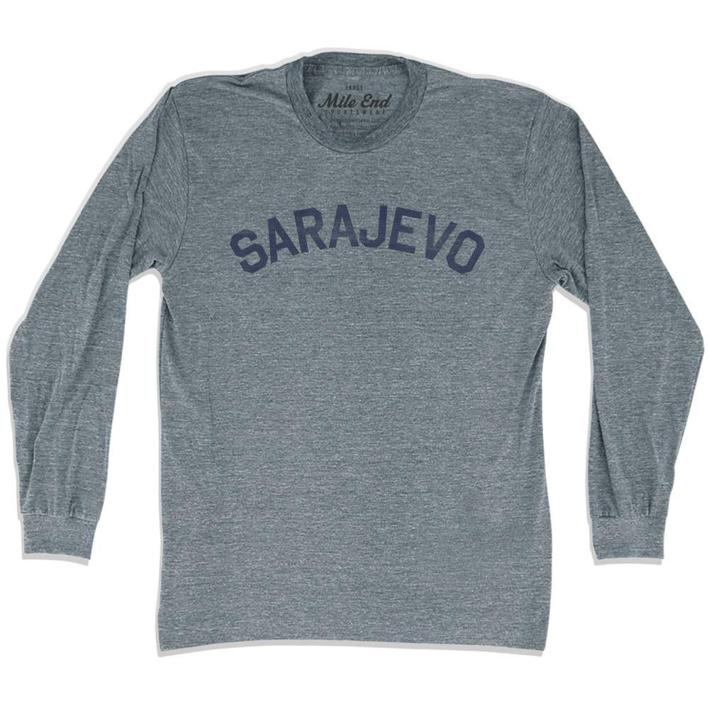 Sarajevo City Vintage Long Sleeve T-shirt in Athletic Grey by Mile End Sportswear