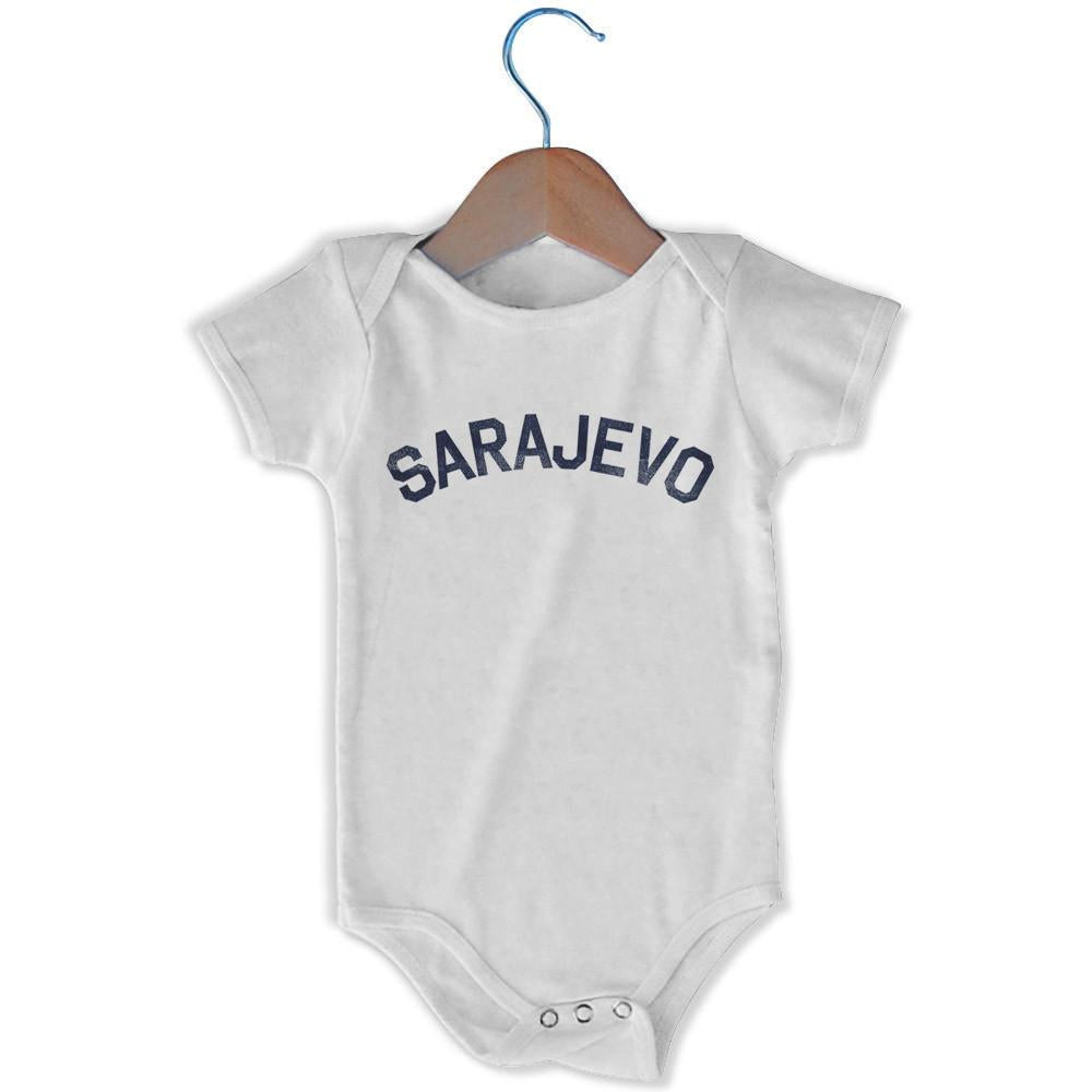 Sarajevo City Infant Onesie in White by Mile End Sportswear