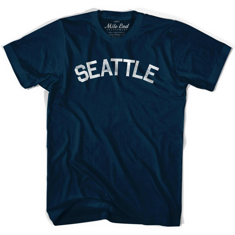 Seattle Vintage City T-shirt in Navy by Mile End Sportswear