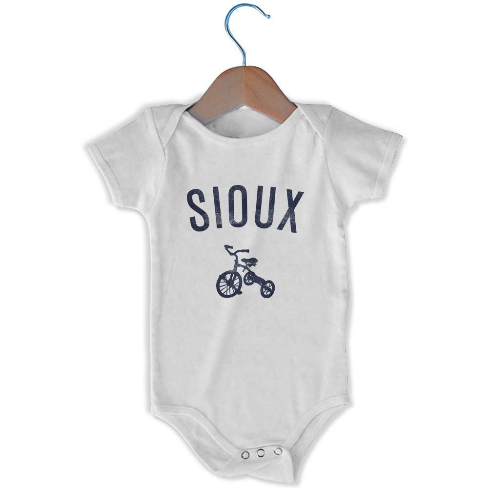 Sioux City Tricycle Infant Onesie in White by Mile End Sportswear