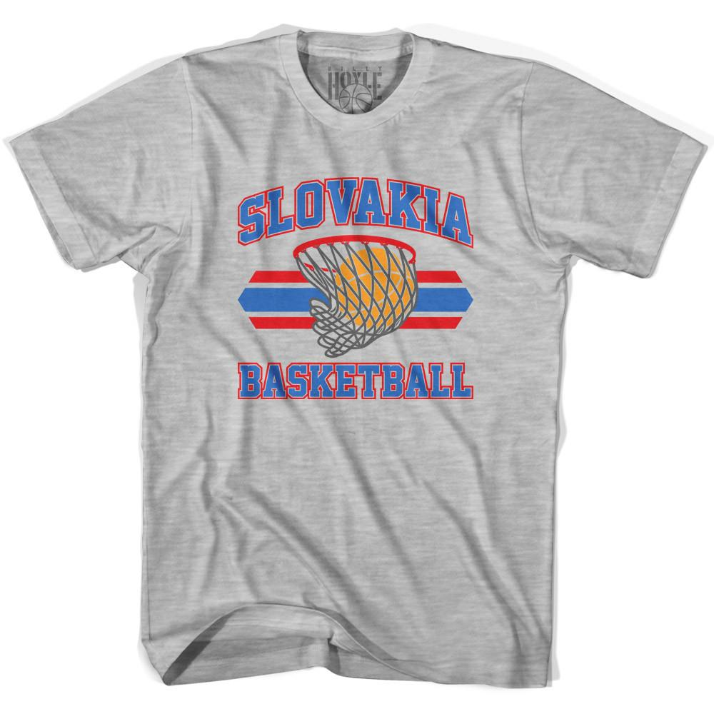 Slovakia 90's Basketball T-shirts in Grey Heather by Billy Hoyle