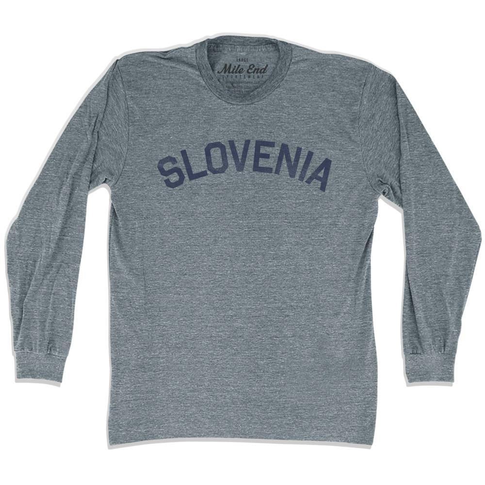 Slovenia City Vintage Long Sleeve T-shirt in Athletic Grey by Mile End Sportswear