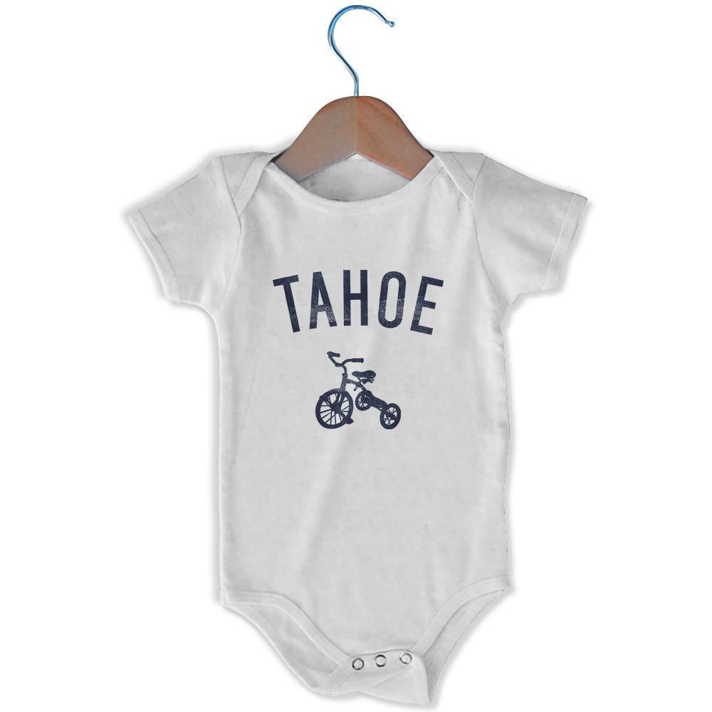 Tahoe City Tricycle Infant Onesie in White by Mile End Sportswear