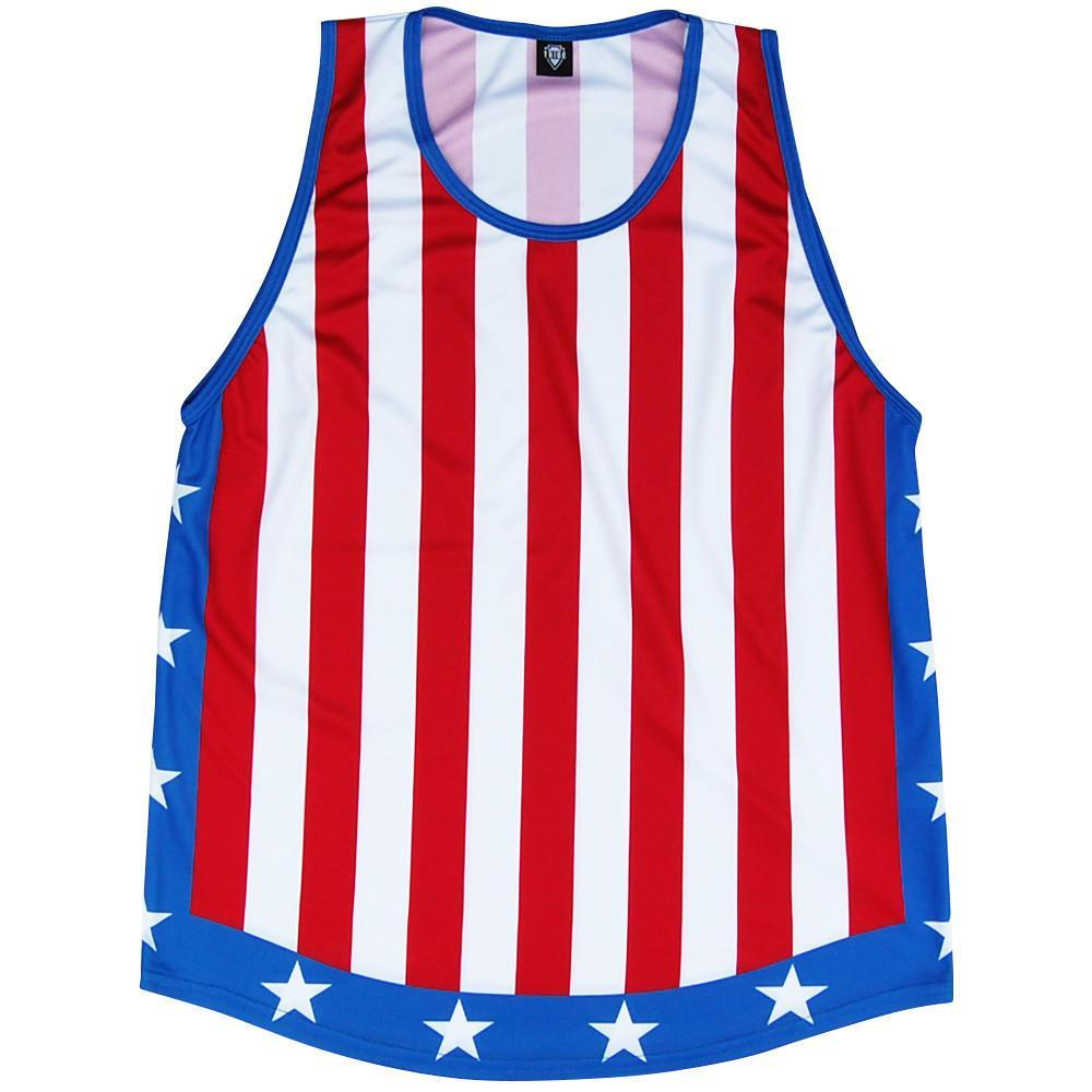The Champ Sport Tank in Red White Blue by Mile End Sportswear