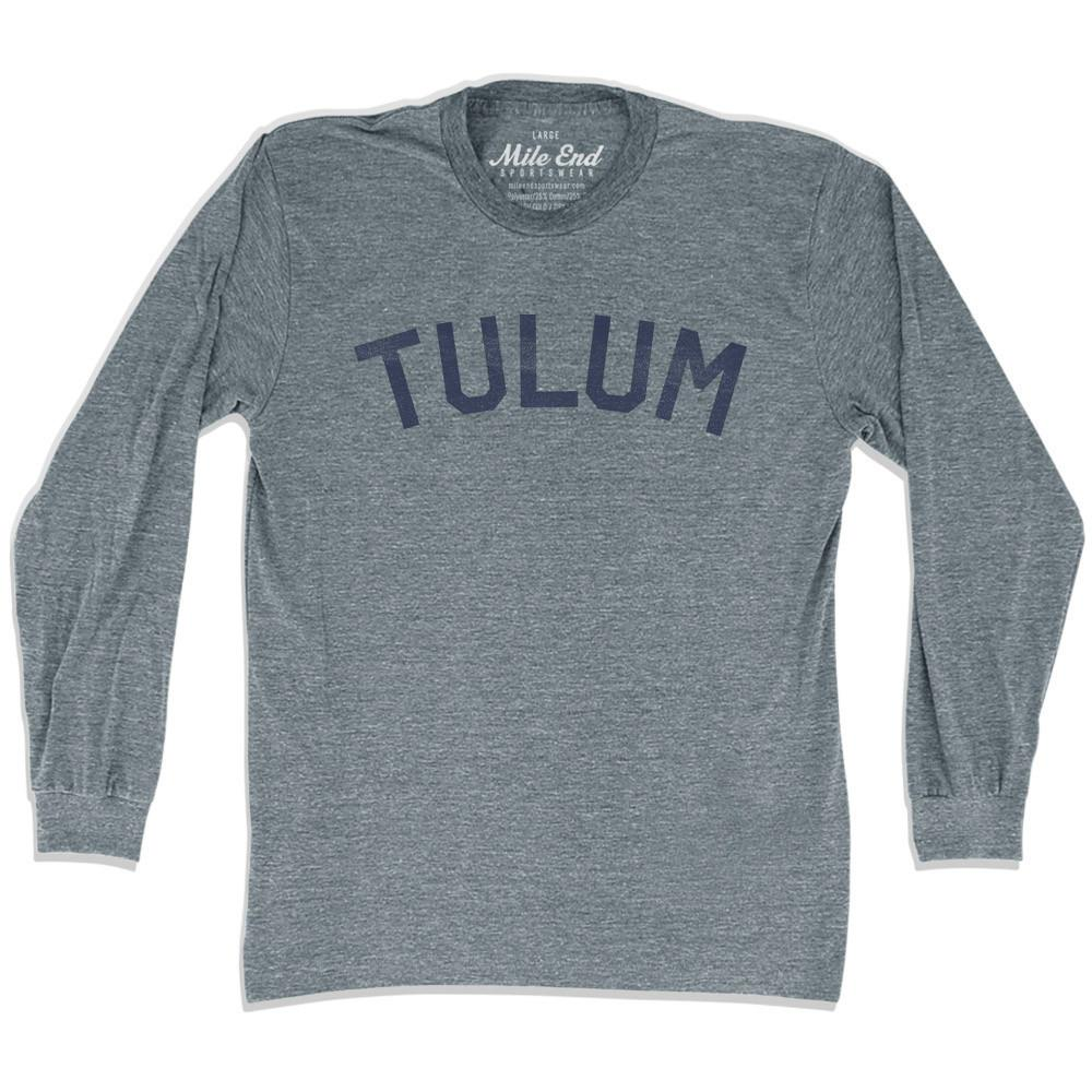 Tulum City Vintage Long-Sleeve T-shirt in Athletic Grey by Mile End Sportswear