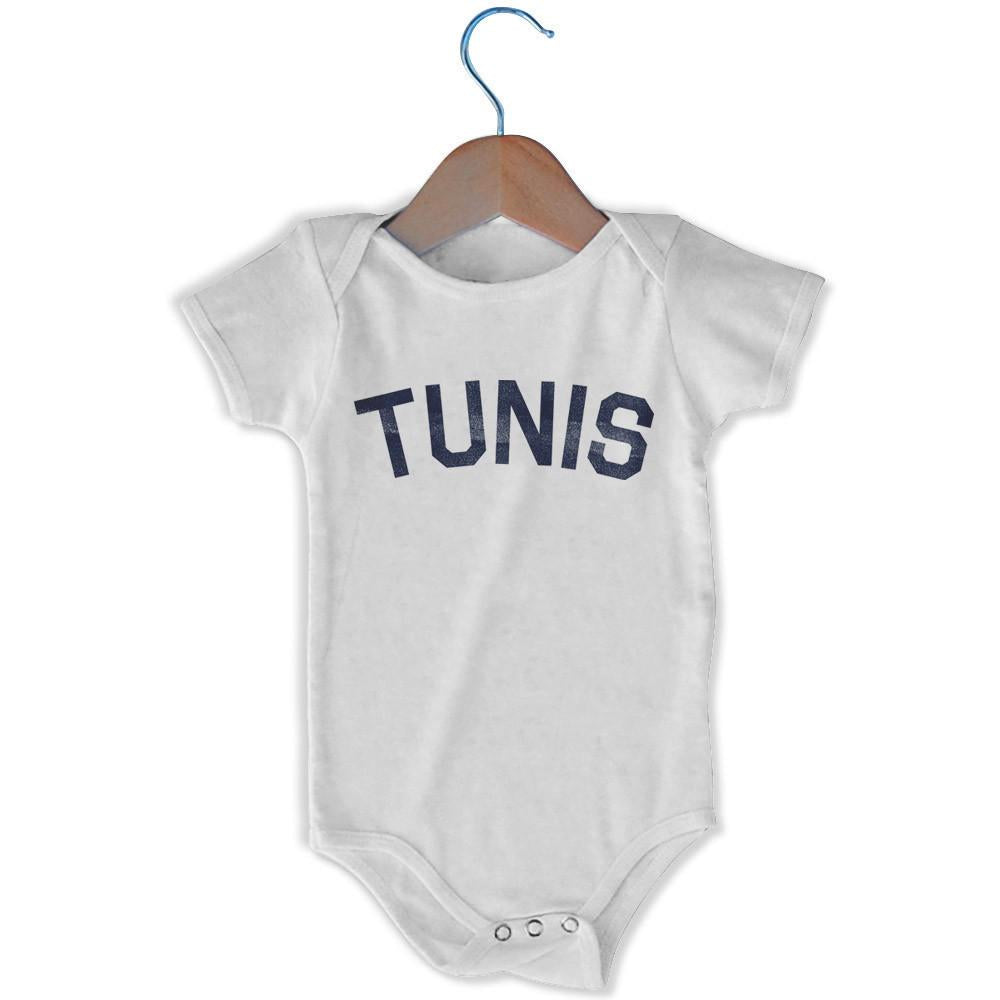 Tunis City Infant Onesie in White by Mile End Sportswear