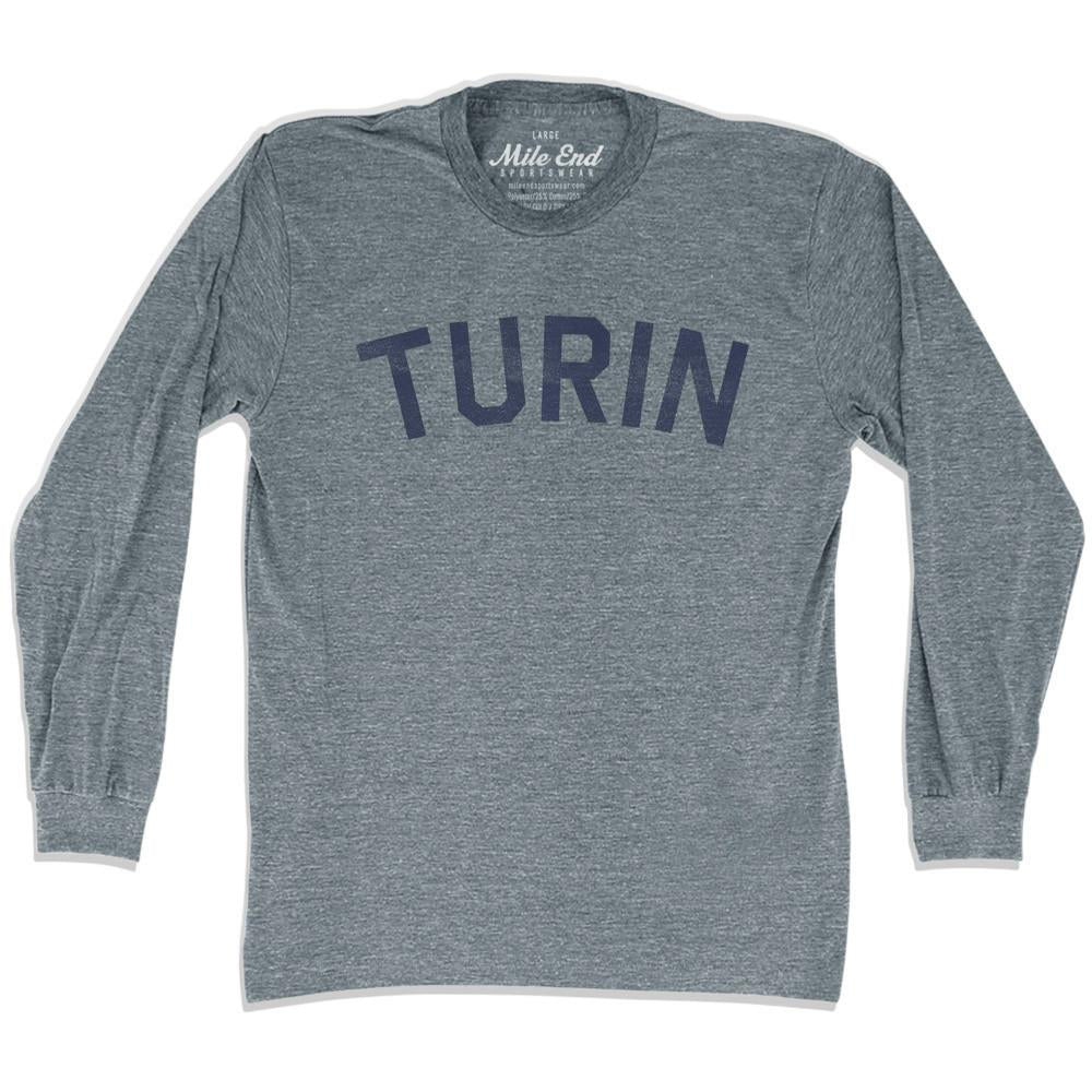 Turin City Vintage Long-Sleeve T-shirt in Athletic Grey by Mile End Sportswear