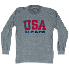 USA Badminton Long Sleeve T-shirt in Athletic Grey by Mile End Sportswear
