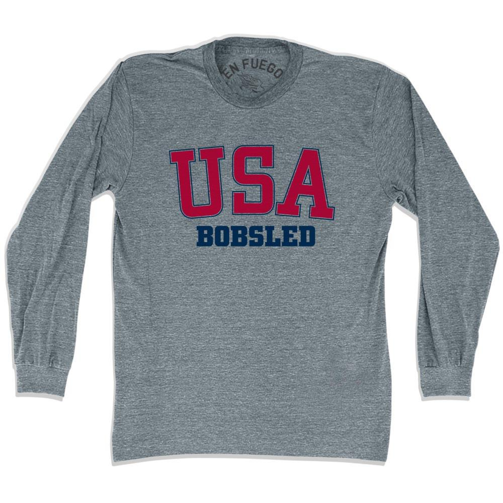 USA Bobsleds Long Sleeve T-shirt in Athletic Grey by Mile End Sportswear