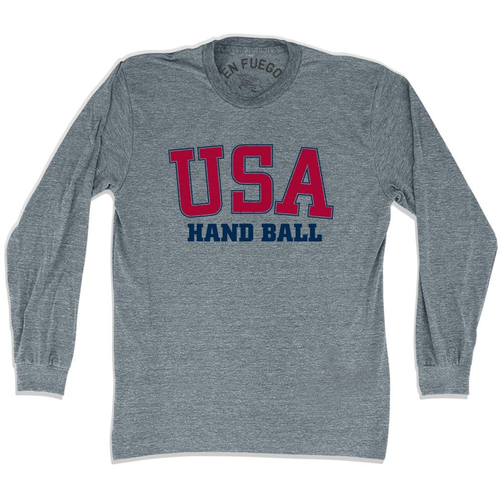USA Handball Long SleeveT-shirt in Athletic Grey by Mile End Sportswear