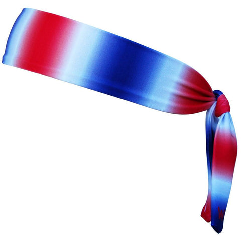 "USA Ombre Red White Blue Elastic Tie Skinny 1"" Headband"