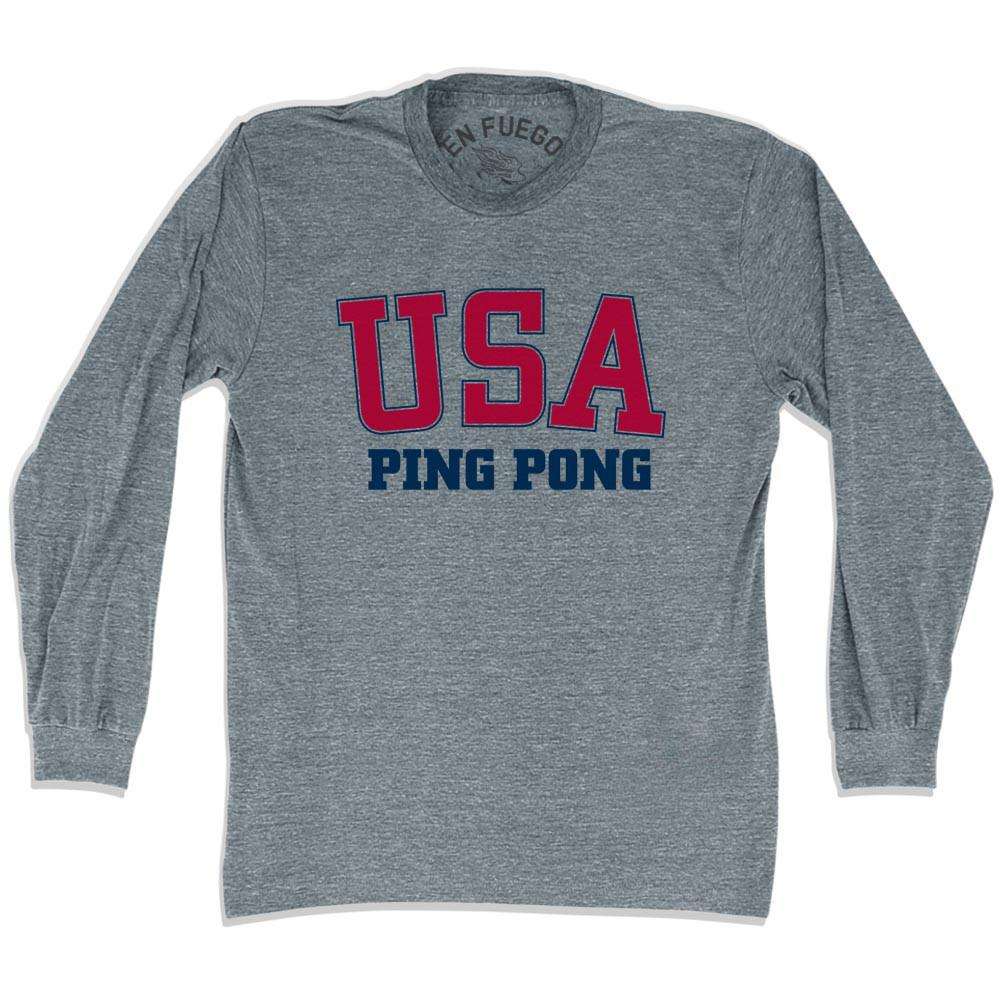 USA Ping Pong Long Sleeve T-shirt in Athletic Grey by Mile End Sportswear