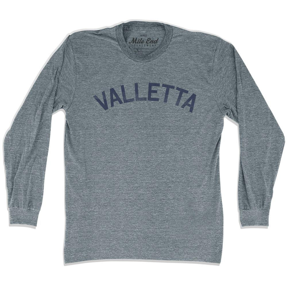 Valletta City Vintage Long Sleeve T-shirt in Athletic Grey by Mile End Sportswear